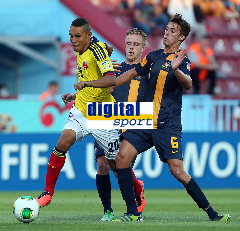 Fotball 22. juni 2013 , U20 VM<br /> Colombia - Australia<br />  U20 World Cup Group C Match between Colombia and Australia Connor Pain (11) and Jackson Irvine (6) of Australia and Brayan Perea (20) of Colombia. <br /> <br /> Norway only