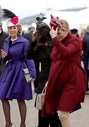 Zara Tindall (right) during Ladies Day of the 2018 Cheltenham Festival at Cheltenham Racecourse.
