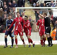 Photo: Matt Bright/Sportsbeat Images.<br /> Swindon Town v Swansea City. Coca Cola League 1. 01/01/2008.<br /> Simon Cox of Swindon is sent off