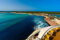 Looking back at Castaway Cay (Disney's private island) from the Disney Dream cruise ship departing the island, The Bahamas