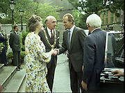 State Visit of King Juan Carlos and Queen Sophia of Spain to Ireland.<br /> 1986.<br /> 30.06.1986<br /> 06.30.1986.<br /> 30th June 1986.<br /> King Juan Carlos and Queen Sophia paid a state visit to Ireland at the invitation of President Hillery and the Irish people.<br /> The duration of the visit was three days.<br /> <br /> Image of the Lord Mayor Jim Tunney and his wife Kathleen as they welcome,Juan Carlos,King of Spain,to the Mansion House,Dawson St,Dublin.<br /> The Mansion House is the residence of the elected Lord Mayor of Dublin.Mr Peter Barry TD,Minister for Foreign Affairs,has his back to camera.