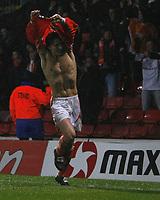 Photo: Richard Lane/Richard Lane Photography. Watford v Blackpool. Coca Cola Championship. 01/11/2008. Alan Gow takes his shirt off to celebrate