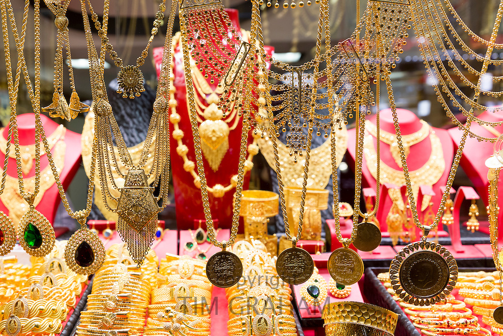 Gold jewelry necklaces bracelets in goldsmiths shop,The Grand Bazaar, Kapalicarsi, great market, Beyazi, Istanbul, Turkey