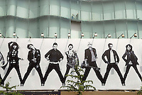 Converse advert on Intime Lotte department store in Wanfujing, Beijing, China. From left to right: Joan Jett, Sid Vicious, X, Karen O, Cui Jian, James Dean, X.