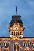 Low angle view of illuminated Triestes city hall at dusk, Trieste, Italy