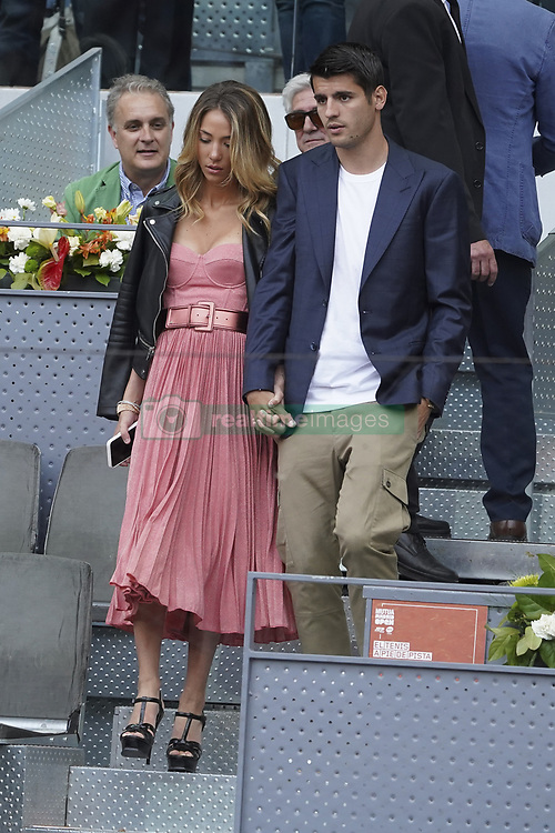 May 7, 2019 - Madrid, Spain - Atletico de Madrid's forward Alvaro Morata, and his wife Alice Campello observe the Mutua Madrid Open's tournament round of 64 game between French Richard Gasquet and Swiss Roger Federer at Caja Magica tennis complex, in Madrid, Spain, 07 May 2019. (Credit Image: © Oscar Gonzalez/NurPhoto via ZUMA Press)