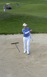 September 13, 2017 - U.S. - SPORTS -- Sam Saunders of Albuquerque checks the line up to the green in a bunker on the hole 1 during the New Mexico Open golf tournament on Wednesday, September 13, 2017. (Credit Image: © Greg Sorber/Albuquerque Journal via ZUMA Wire)