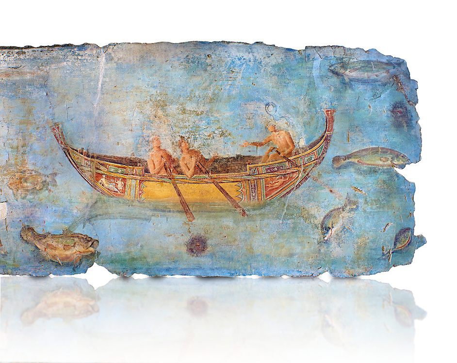 Roman Fresco with a boat decorated for a festival and marine life from the second quarter of the first century AD. (mosaico fauna marina da porto fluviale di san paolo), museo nazionale romano ( National Roman Museum), Rome, Italy. inv. 121462 .   Against a white background.<br /> The frescoes depict boats decorated as boats which went along the Tiber on festival days; their shape appears to be the caudicariae boats, used to transport merchandise. In the fresco fragment exhibited here (Ambiente E) the boat on the left depicts probably the group of 'side Serapide and Demetra on the stern, whereas the one on the right presents a crowned character on the bow and, on the stern, a feminine figure fluctuating in the air. Between the two boats, a young boy (a cupid or Palaimon-Portunus) rides a dolphin. All around are depicted several fish incredibly casting their shadows on the sea. The ichthyic fauna, lifeless as in still life decoration, is detailed as in a scientific catalogue. For the most part the represented species live next to the coast or were bred by the Romans in the piscinae salsac or in ponds. It is possible to recognize the rock mullet (mullus sunnuletus) and the mud one (mullus barbatu4 the scorpion fish (scorpoena) the dentex (dentex dentex), the aguglia (belone agus) the dolphin (delphinus delphis) and the golden mullet (lire curate). .<br /> <br /> If you prefer to buy from our ALAMY PHOTO LIBRARY  Collection visit : https://www.alamy.com/portfolio/paul-williams-funkystock/national-roman-museum-rome-fresco.html<br /> <br /> Visit our ROMAN ART & HISTORIC SITES PHOTO COLLECTIONS for more photos to download or buy as wall art prints https://funkystock.photoshelter.com/gallery-collection/The-Romans-Art-Artefacts-Antiquities-Historic-Sites-Pictures-Images/C0000r2uLJJo9_s0