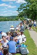 Henley on Thames, England, United Kingdom,  Saturday,  22.06.19,   GV, spectators, Henley Women's Regatta, Henley Reach,  Karon PHILLIPS/Intersport Images,<br /> , <br /> 12:40:57