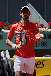 May 9, 2019 - Madrid, Madrid, Spain - Noval Djokovic seen in action during the Mutua Madrid Open Masters match on day 7 at Caja Magica in Madrid. (Credit Image: © Legan P. Mace/SOPA Images via ZUMA Wire)