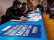 27 APRIL 2019 - STUART, IOWA: Elizabeth Warren's volunteers at the Reaching Rural Voters Forum in Stuart. The forum was an outreach by Democrats in Iowa's 3rd Congressional District to mobilize Democratic voters statewide. Iowa saw one of the largest shifts from Democrats to Republicans in the 2016 Presidential election and Trump won the state by double digits. Republicans control the governor's office and both chambers of the Iowa legislature. Iowa traditionally hosts the the first selection event of the presidential election cycle. The Iowa Caucuses will be on Feb. 3, 2020.                                PHOTO BY JACK KURTZ