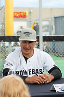 KELOWNA, CANADA - JUNE 28: Retired NHL player Jordin Tootoo sits at an autograph table during the opening charity game of the Home Base Slo-Pitch Tournament fundraiser for the Kelowna General Hospital Foundation JoeAnna's House on June 28, 2019 at Elk's Stadium in Kelowna, British Columbia, Canada.  (Photo by Marissa Baecker/Shoot the Breeze)