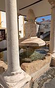 Historic public water supply from fountain in street square of former Jewish area, the Judiara, Castelo de Vide, Alto Alentejo, Portugal, southern Europe