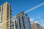 Newly-completed high-rise apartments at Elephant & Castle in the south London borough of Southwark, on 26th February 2021, in London, England.