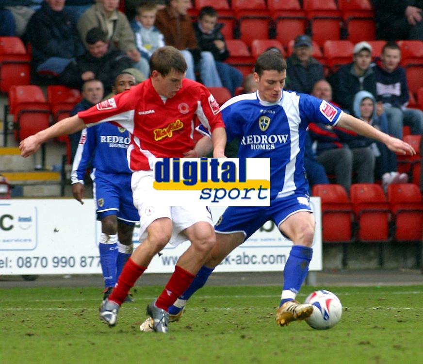 Photo: Dave Linney.<br />Crewe Alexander v Cardiff City. Coca Cola Championship. 17/04/2006.Cardiff's Jason Koumas(R) keeps Gary Roberts at bay.
