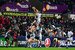 Clermont Auvergne's Alexandre Lapandry and Ospreys' Bradley Davies contest the line out - Mandatory by-line: Craig Thomas/JMP - 15/10/2017 - RUGBY - Liberty Stadium - Swansea, Wales - Ospreys Rugby v Clermont Auvergne - European Rugby Champions Cup