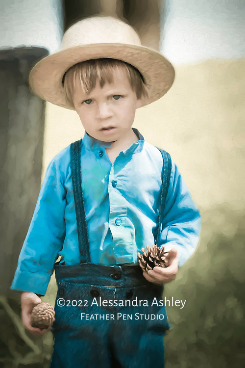 Amish boy wearing blue overalls and straw hat,  collecting pinecones near the Clear Fork reservoir, central Ohio.