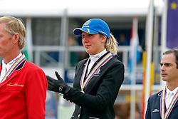 Podium 7 years <br /> 1. Gudrun Patteet (BEL)<br /> 2. Jos Lansink (BEL)<br /> 3. Rodrigo Pessoa (BRA)<br /> FEI World Breeding Jumping Championship - Lanaken 2013<br /> © Dirk Caremans