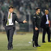 Bursaspor's coach Ertugrul SAGLAM (L) during their Turkish soccer super league match Bursaspor between Kayserispor at Ataturk Stadium in Bursa Turkey on Saturday, 01 May 2010. Photo by TURKPIX