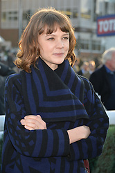 CAREY MULLIGAN at the 2014 Hennessy Gold Cup at Newbury Racecourse, Newbury, Berkshire on 29th November 2014.  The Gold Cup was won by Many Clouds ridden by Leighton Aspell.