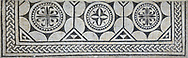 Picture of a black and white geometric Roman mosaics , from the ancient Roman city of Thysdrus. 3rd century AD. El Djem Archaeological Museum, El Djem, Tunisia. .<br /> <br /> If you prefer to buy from our ALAMY PHOTO LIBRARY Collection visit : https://www.alamy.com/portfolio/paul-williams-funkystock/roman-mosaic.html . Type - El Djem - into the LOWER SEARCH WITHIN GALLERY box. Refine search by adding background colour, place, museum etc<br /> <br /> Visit our ROMAN MOSAIC PHOTO COLLECTIONS for more photos to download as wall art prints https://funkystock.photoshelter.com/gallery-collection/Roman-Mosaics-Art-Pictures-Images/C0000LcfNel7FpLI
