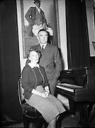 Count John and Mrs McCormack at a press reception in their home. <br />