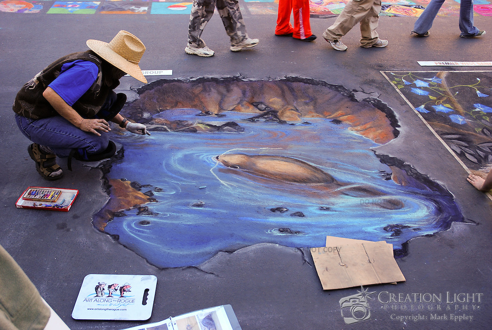 Each year artists create works of art near the Rogue River in Grants Pass, Oregon with Charcoal Pastels.