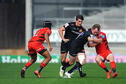 Max Bodilly of Exeter Braves is tackled by Matt Gallagher of Saracens Storm- Mandatory by-line: Nizaam Jones/JMP - 22/04/2019 - RUGBY - Sandy Park Stadium - Exeter, England - Exeter Braves v Saracens Storm - Premiership Rugby Shield