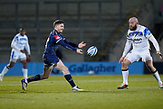Sale Sharks scrum-half Will Cliff  passes during a Gallagher Premiership Round 9 Rugby Union match, Friday, Feb 12, 2021, in Leicester, United Kingdom. (Steve Flynn/Image of Sport)
