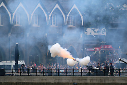 © Licensed to London News Pictures. 11/06/2016. Gun salute at the Tower of London for the Queen's 90th Birthday. Credit: Rob Powell/LNP