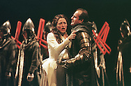 Genoveva, played by Patricia Schuman bids her farewell to Siegfried (Christopher Purves) as his soldiers depart to fight a crusade against the infidel invader Abdorrhamen in Opera North's production of Robert Schumann's opera 'Genoveva' which is playing at the King's Theatre on Saturday 2nd September, the closing night of this year's Edinburgh International Festival.