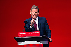© Licensed to London News Pictures. 29/09/2021. Brighton, UK. SIR KEIR STARMER delivers the leader's speech at the close of the conference . The final day of the 2021 Labour Party Conference , which is taking place at the Brighton Centre . Photo credit: Joel Goodman/LNP