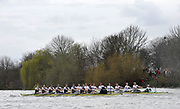 Putney, London, Oxford on the Surrey Station [left] passing Dukes Meadows, during the 156th University Boat Race  over  the Championship Course,  Putney to Mortlake. on Saturday  03/04/2010 [Mandatory Credit Peter Spurrier/ Intersport Images] <br /> <br /> CUBC Crew, Bow - Rob WEITEMEYER, Geoff ROTH, George NASH, Peter McCELLAND, Deaglan McEACHERN, Henry PELLY, Derek RASMUSSEN, Stroke - Fred GILL and Cox - Ted RANDOLPH<br /> <br /> OUBC crew, Bow - Ben MYERS, Martin WALSH, Tyler WINKLEVOSS, Cameron WINKLEVOSS, Sjoerd HAMBURGER, Matt EVANS, Simon GAWLIK, Stroke - Charlie BURKITT and Cox - Adam BARHAMAND