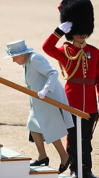 Queen Elizabeth II during the Trooping the Colour ceremony at Horse Guards Parade, central London, as she celebrates her official birthday.