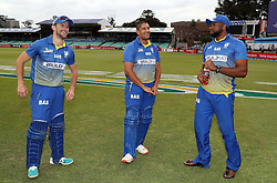 Dane Vilas W/K with Rory Kleinveldt and Kieron Pollard (captain) of BuildNat Cape Cobras during the T20 Challenge cricket match between the Dolphins and the Cobras at the Kingsmead stadium in Durban, KwaZulu Natal, South Africa on the 4th December 2016<br /> <br /> Photo by:   Steve Haag / Real Time Images