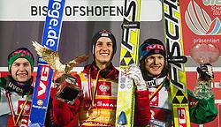 06.01.2013, Paul Ausserleitner Schanze, Bischofshofen, AUT, FIS Ski Sprung Weltcup, 61. Vierschanzentournee, Gesamt Podium, im Bild Gesamtpodium: zweiter Anders Jacobsen (NOR), Gesamtsieger Gregor Schlierenzauer (AUT) und dritter Tom Hilde (NOR) // Overall Podium: Anders Jacobsen of Norway, Overall Winner Gregor Schlierenzauer of Austria and Tom Hilde of Norway during Overall Podium of 61th Four Hills Tournament of FIS Ski Jumping World Cup at the Paul Ausserleitner Schanze, Bischofshofen, Austria on 2013/01/06. EXPA Pictures © 2012, PhotoCredit: EXPA/ Juergen Feichter