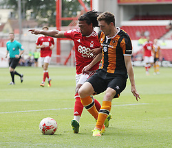Hilderberto Pereira of Nottingham Forest (L) and Andrew Robertson of Hull City in action - Mandatory by-line: Jack Phillips/JMP - 30/07/2016 - FOOTBALL - The City Ground - Nottingham, England - Nottingham Forest v Hull City - Pre-Season Friendly