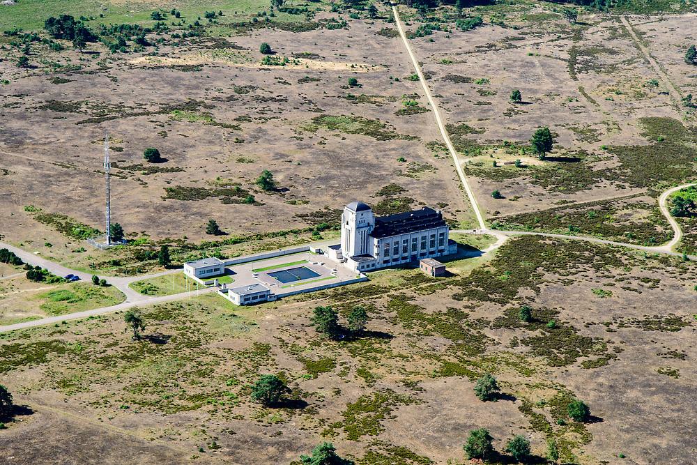Nederland, Gelderland, Gemeente Barneveld, 17-07-2017; overzicht Radio Kootwijk, voormalige PTT-zendstation en zenderpark. Gebouw A (het hoofdgebouw) heeft als bijnaam 'de Kathedraal' en is een Rijksmonument.<br /> Radio Kootwijk, former PTT station and radio transmitter site. Building A (the main building) is nicknamed 'The Cathedral' and is a listed building <br /> <br /> luchtfoto (toeslag op standard tarieven);<br /> aerial photo (additional fee required);<br /> copyright foto/photo Siebe Swart