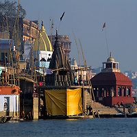 Asia, India, Uttar Pradesh, Varanasi. Along the ghats in the holy city of Varanasi on the Ganges River.