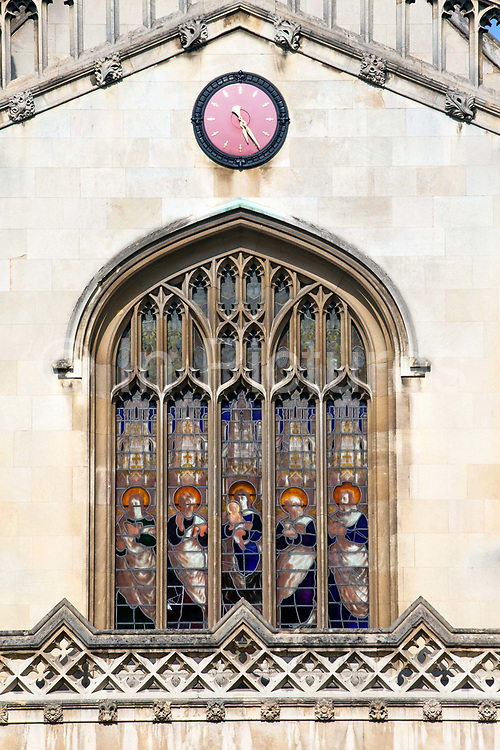 Stained glass in the windows of the chapel of Corpus Christi College (founded in 1352 by the Guilds of Corpus Christi and the Blessed Virgin Mary), Cambridge University, Cambridge, UK