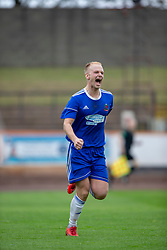 Cove Rangers Jordan Brown cele scoring their second goal. Cove Rangers have become the SPFL's newest side and ended Berwick Rangers' 68-year stay in Scotland's senior leagues by earning a League Two place. Berwick Rangers 0 v 3 Cove Rangers, League Two Play-Off Second Leg played 18/5/2019 at Berwick Rangers Stadium Shielfield Park.