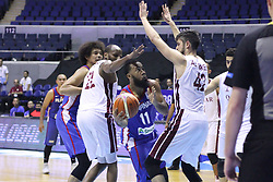 September 17, 2018 - Quezon City, NCR, Philippines - Stanley Pringle (Blue) of the Philippines tries to lay the ball over defenders Suliman Abdi Khalid (22, White) and Nasser Khaifa Al-Rayes (42, White) of Qatar. (Photo by Dennis Jerome Acosta/ Pacific Press) (Credit Image: © Dennis Jerome S. Acosta/Pacific Press via ZUMA Wire)