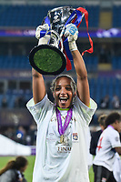 Sarah Bouhaddi of Olympique Lyon celebrates with the trophy during the UEFA Women's Champions League Final between Lyon Women and Paris Saint Germain Women at the Cardiff City Stadium, Cardiff, Wales on 1 June 2017. Photo by Giuseppe Maffia.<br /> <br /> Giuseppe Maffia/UK Sports Pics Ltd/Alterphotos