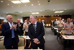 Michael van Praag of Nederlands football federation and Rudi Zavrl awarded by Slovenian football federation (NZS) when he became a Honorable president of NZS, on May 7, 2009, in Hotel Kokra, Brdo at Kranj, Slovenia.  (Photo by Vid Ponikvar / Sportida)