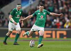 Ireland's Johnny Sexton kicks during the NatWest 6 Nations match at Twickenham Stadium, London.