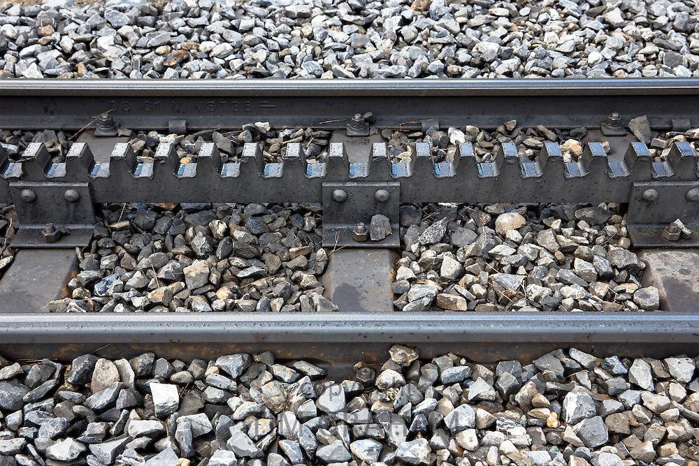 Detail of rack railway track and cog rack for Jungfraubahn funicular train