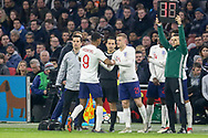 England Jamie Vardy comes off the substitutes bench and replaces England forward Marcus Rashford during the Friendly match between Netherlands and England at the Amsterdam Arena, Amsterdam, Netherlands on 23 March 2018. Picture by Phil Duncan.