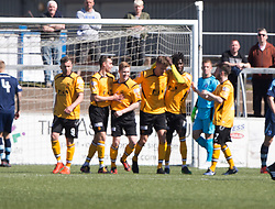 Annan Athletic's Peter Watson (5) cele scoring their first goal. half time : Forfar Athletic 1 v 3 Annan Athletic, Scottish Football League Division Two game played 6/5/2017 at Station Park.