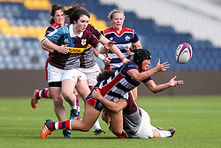 Clara Nielson of Bristol Ladies is challenged by Shaunagh Brown of Aylesford Bulls - Rogan Thomson/JMP - 23/04/2017 - RUGBY UNION - Sixways Stadium - Worcester, England - Bristol Ladies Rugby v Aylesford Bulls - Women's Premiership Final.