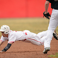 032514  Adron Gardner/Independent<br /> <br /> Grants Pirate Elijah Gamboa (3) dives to third base while playing against the Kirtland Central Broncos in Grants Tuesday.